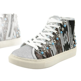 Silver high sneakers richly decorated D17-27027 grey multicolored 4