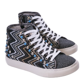 Black high sneakers richly decorated D17-27027 multicolored 1