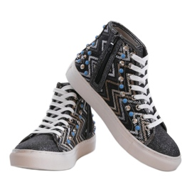 Black high sneakers richly decorated D17-27027 multicolored 3