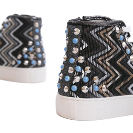 Black high sneakers richly decorated D17-27027 multicolored 2