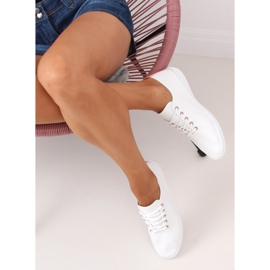 Women's white and pink sneakers 6165 Pink 2