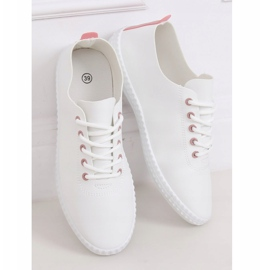 Women's white and pink sneakers 6165 Pink 1