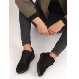 Black suede black women's sneakers 6301 4