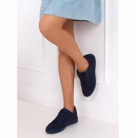 Navy blue suede women's sneakers 6301 2