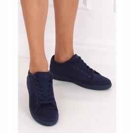 Navy blue suede women's sneakers 6301 3
