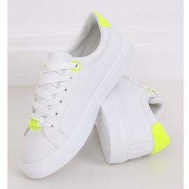 White women's sneakers B0-515 WHITE / YELLOW 1