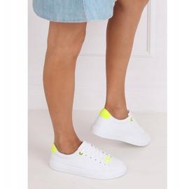 White women's sneakers B0-515 WHITE / YELLOW 3