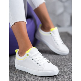 SHELOVET Stylish Sneakers With Eco Leather white yellow 1