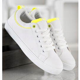 SHELOVET Stylish Sneakers With Eco Leather white yellow 2