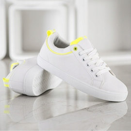SHELOVET Stylish Sneakers With Eco Leather white yellow 3