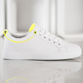 SHELOVET Stylish Sneakers With Eco Leather white yellow 4