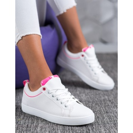 SHELOVET Stylish Sneakers With Eco Leather white pink 1