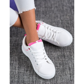SHELOVET Stylish Sneakers With Eco Leather white pink 2