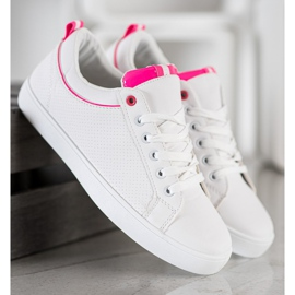 SHELOVET Stylish Sneakers With Eco Leather white pink 3