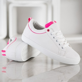 SHELOVET Stylish Sneakers With Eco Leather white pink 4
