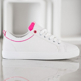 SHELOVET Stylish Sneakers With Eco Leather white pink 5