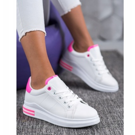 SHELOVET Fashionable Tied Sneakers white pink 1