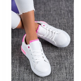 SHELOVET Fashionable Tied Sneakers white pink 2