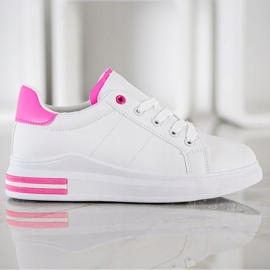 SHELOVET Fashionable Tied Sneakers white pink 3