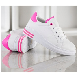 SHELOVET Fashionable Tied Sneakers white pink 4