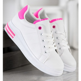SHELOVET Fashionable Tied Sneakers white pink 5