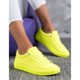 SHELOVET Sneakers With Eco Leather yellow 6