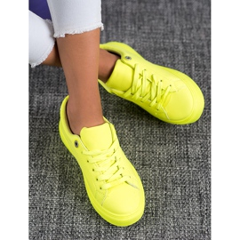 SHELOVET Sneakers With Eco Leather yellow 1