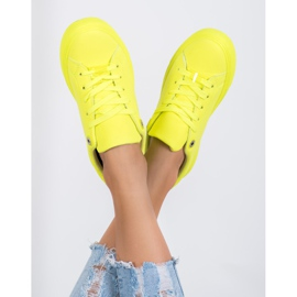 SHELOVET Sneakers With Eco Leather yellow 2