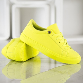 SHELOVET Sneakers With Eco Leather yellow 4