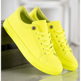 SHELOVET Sneakers With Eco Leather yellow 5