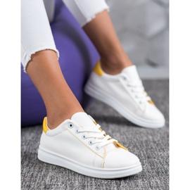 SHELOVET Classic Sport Shoes white yellow 1