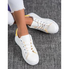 SHELOVET Classic Sport Shoes white yellow 2