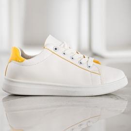 SHELOVET Classic Sport Shoes white yellow 3