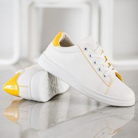 SHELOVET Classic Sport Shoes white yellow 4