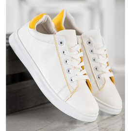 SHELOVET Classic Sport Shoes white yellow 5