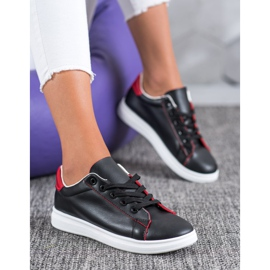 SHELOVET Classic Sport Shoes black red 5