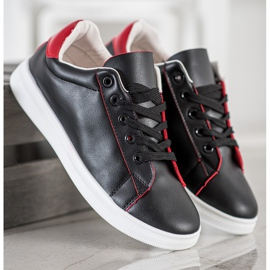 SHELOVET Classic Sport Shoes black red 2