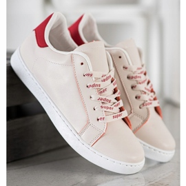 SHELOVET Fashionable Sports Shoes white red 2
