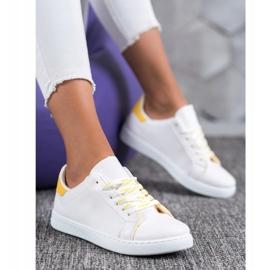 SHELOVET Fashionable Sports Shoes white yellow 1
