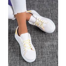SHELOVET Fashionable Sports Shoes white yellow 2