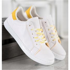 SHELOVET Fashionable Sports Shoes white yellow 3