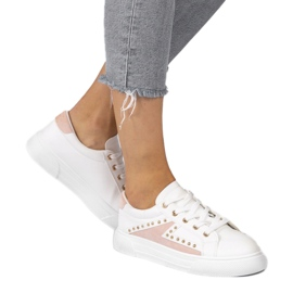 White classic sneakers with rhinestones A88-69 pink 1