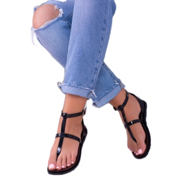 Lu Boo Roman Sandals Japanese Lento Black 3
