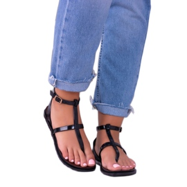 Lu Boo Roman Sandals Japanese Lento Black 2