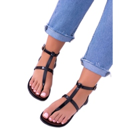 Lu Boo Roman Sandals Japanese Lento Black 1