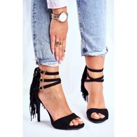 LU BOO Women's Sandals On A High Heel Gladiator Black Carnival 2
