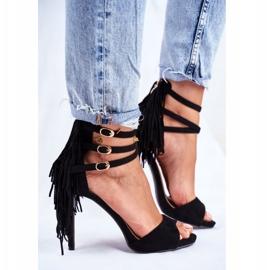 LU BOO Women's Sandals On A High Heel Gladiator Black Carnival 4