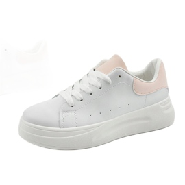 White sneakers with eco-leather LLQ204-11 pink 1