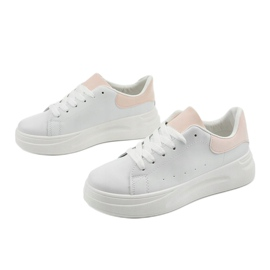 White sneakers with eco-leather LLQ204-11 pink 2