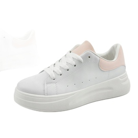 White sneakers with eco-leather LLQ204-11 pink 4